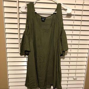 Torrid military green cold shoulder blouse